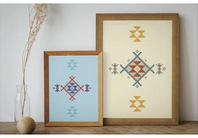 Set of two Ethnic downloadable prints, Geometric print, Tribal art, Ethnic wall art, Printable art (Mellow Yellow and Watery Sea Blue)