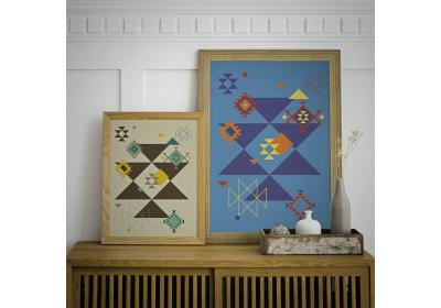 Set of two Ethnic downloadable prints, Geometric print, Tribal art, Ethnic wall art, Printable art (Chocolate Brown and Sapphire Blue)