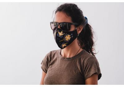 A set of 3 polyester face masks with ethnic prints. BLACK main color with Yellow/Purple print (use for protection in public areas)
